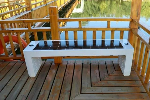 智慧太阳能座椅亮相大路公园