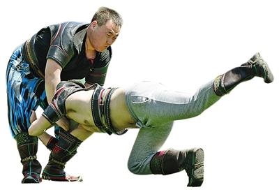 呼和浩特民族学院那达慕文化节上的搏克比赛