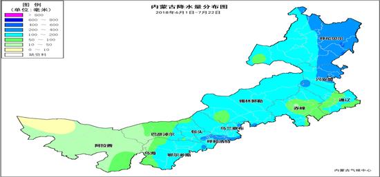 内蒙古降水量分布图(2018年6月1日至7月22日)