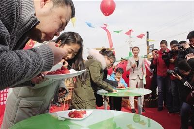 图为市民吃草莓大赛现场。