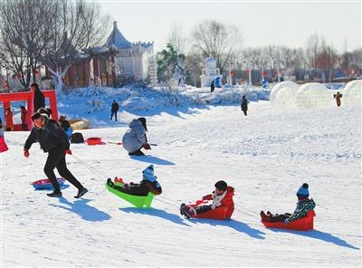游客在呼和浩特市南湖湿地公园冰雪世界享受冰雪乐趣。