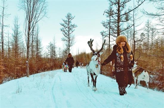 """走在多妮娅鄂温克使鹿部落的路上,不时看到拉着雪橇急驰而过的驯鹿,仿佛闯入了童话世界,难怪这里被称为""""圣诞老人的出发地""""。"""