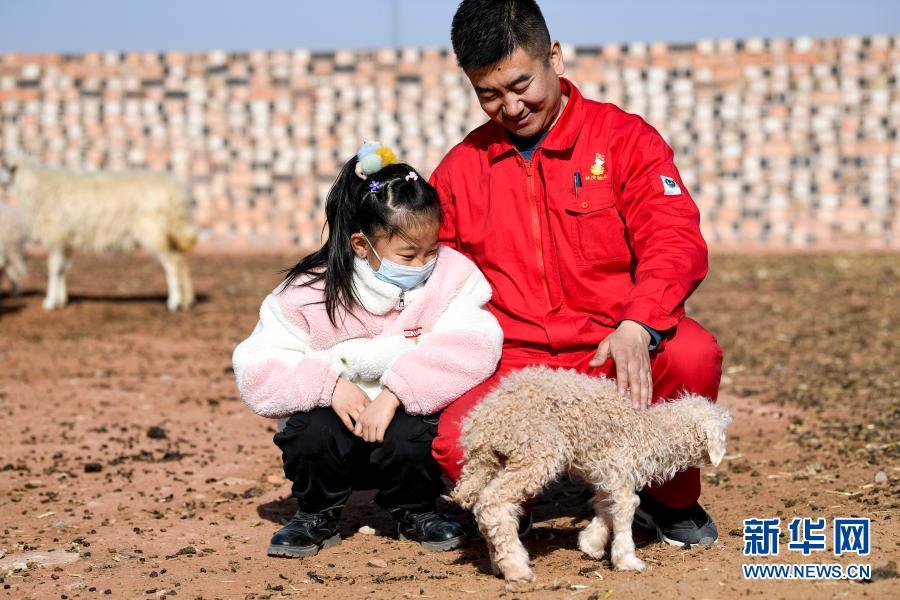 7岁的王思淇第一次来到爸爸王涛驻村的红井子村,她对一切都充满了好奇。这是王涛和王思淇在抚摸一只小羊羔(2月11日摄)。