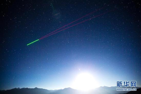 """""""墨子号""""量子科学实验卫星掠过阿里量子隐形传态实验平台上空"""