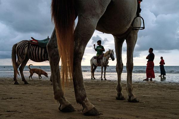 德约一家三口西班牙度假 海滩扔娃