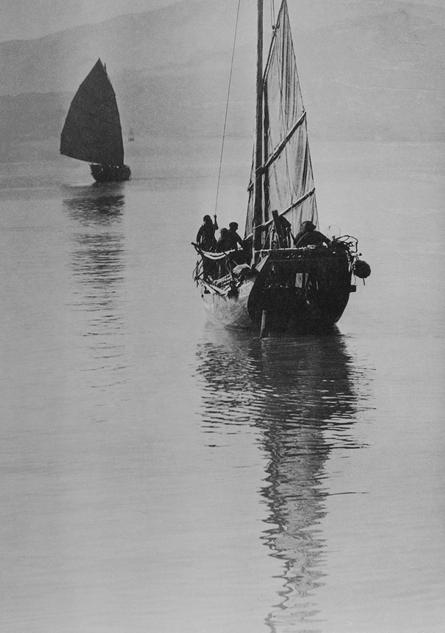 西湾畔中的中国帆船,李玉田作品