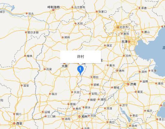 许村位于山西省晋中市和顺县松烟镇,距北京约500km