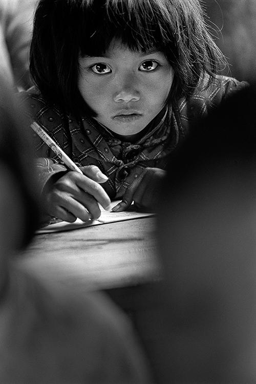 1991年4月,安徽省金寨县三合乡张湾小学,大眼睛苏美娟。
