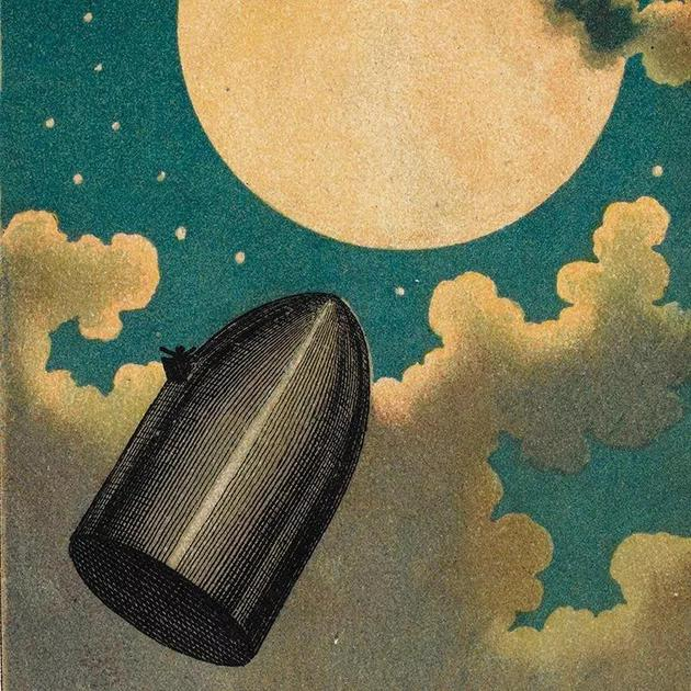 凡尔纳1865年的小说《从地球到月球》中的插图。    来源:Heritage Image Partnership/Alamy
