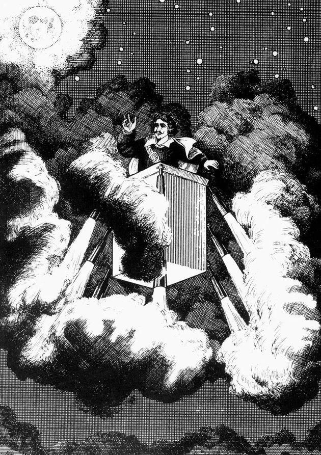 西哈诺·德·贝尔热哈克依靠喷射烟火的机器向月球进发。    来源:Interfoto/Alamy