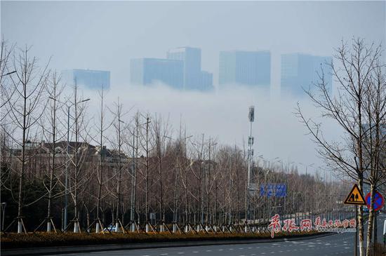 图为拍摄于崂山区的平流雾美景。