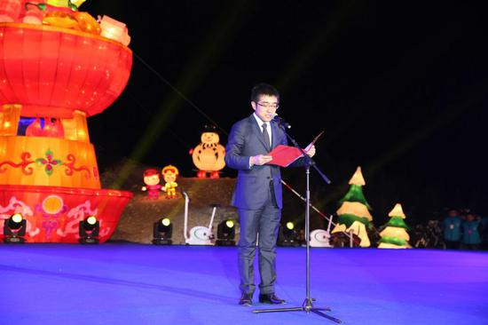 图为:延庆区政协常委、区工商联主席、91投资、91众创空间、91金融创始人、董事长、CEO许泽玮发表致辞
