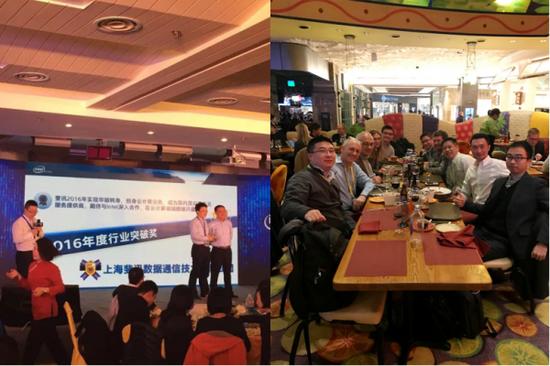 左图:斐讯荣获2016英特尔行业突破奖右图:CES期间斐讯、英特尔双方会议现场