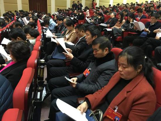 代表们认真审议政府工作报告