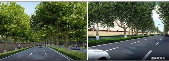 这个路段全长约1.6公里,改造后全线为双向6车道,规划红线宽度34米,绿线宽度约50米。