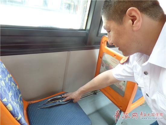 公交车座被刀片划成条状