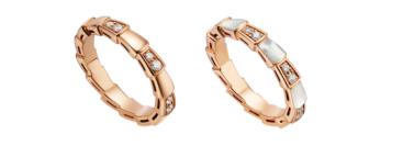 宝格丽Serpenti Viper灵蛇之戒系列玫瑰金镶钻石戒指