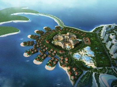 恒大海花岛欧堡酒店与七星海岛酒店鸟瞰图