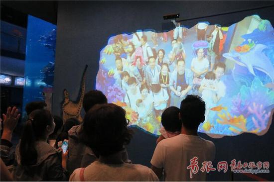 """游客们在海底世界观看""""人鲨共舞"""" 。 王雷 摄"""