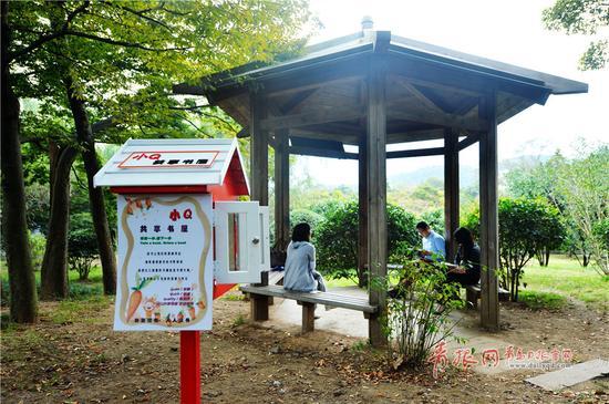 """2017年10月9日,市民在青岛市中山公园""""小Q共享书屋""""旁阅读休闲。"""