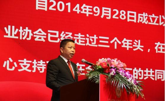 (图1:广东省医疗健康协会理事长、会长林志程做协会工作报告)