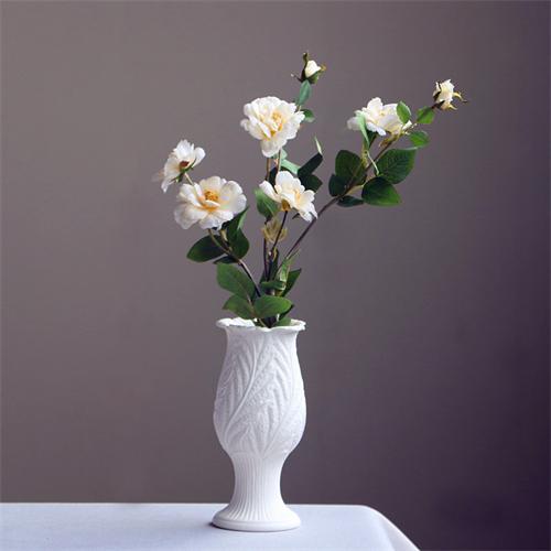简约白色陶瓷干花花瓶小清新欧式花艺装饰品水培花器客厅插花摆件