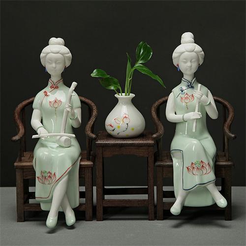 陶瓷工艺礼品人物小摆件中式客厅电视柜装饰古典青瓷仕女家居摆设
