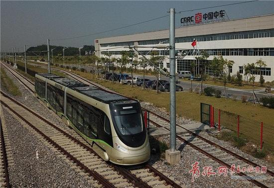 △中车四方股份公司研发的氢能源有轨电车。(图片由企业提供)