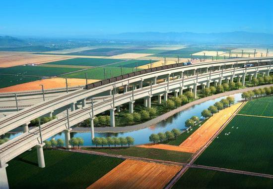 青岛港董家口港区疏港铁路项目效果图