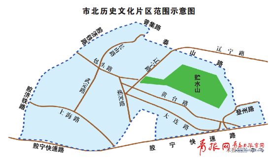 ▲市北历史文化片区范围示意图(制图 李飞)