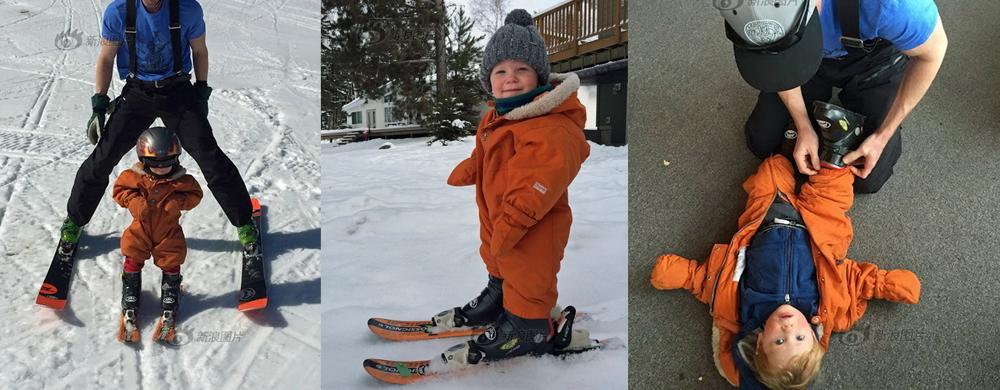 厉害了宝宝!加拿大1岁男孩掌握滑雪技能