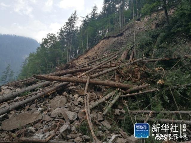 九寨沟景区内灾后画面