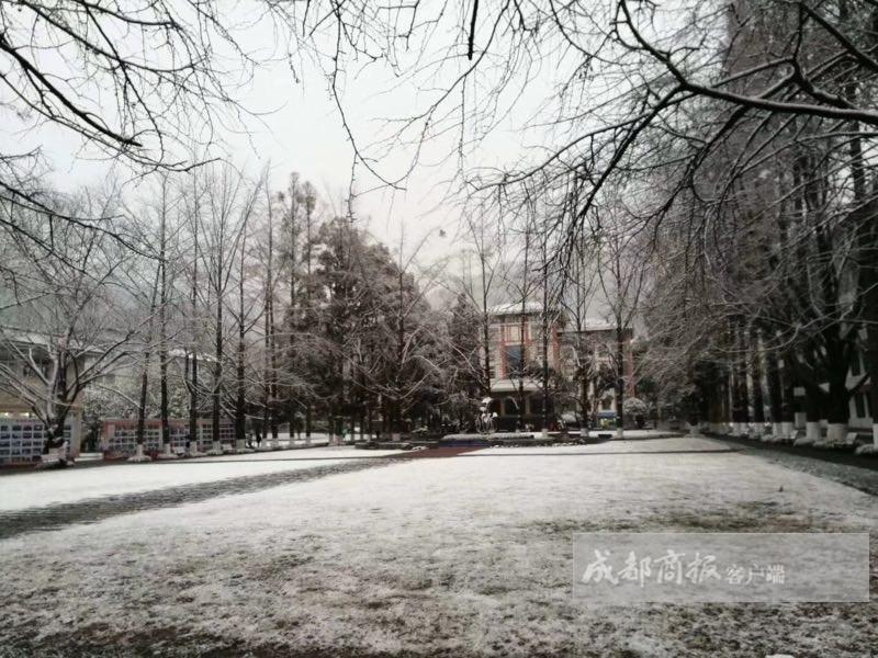 成都真的下雪了 都江堰被白色包裹