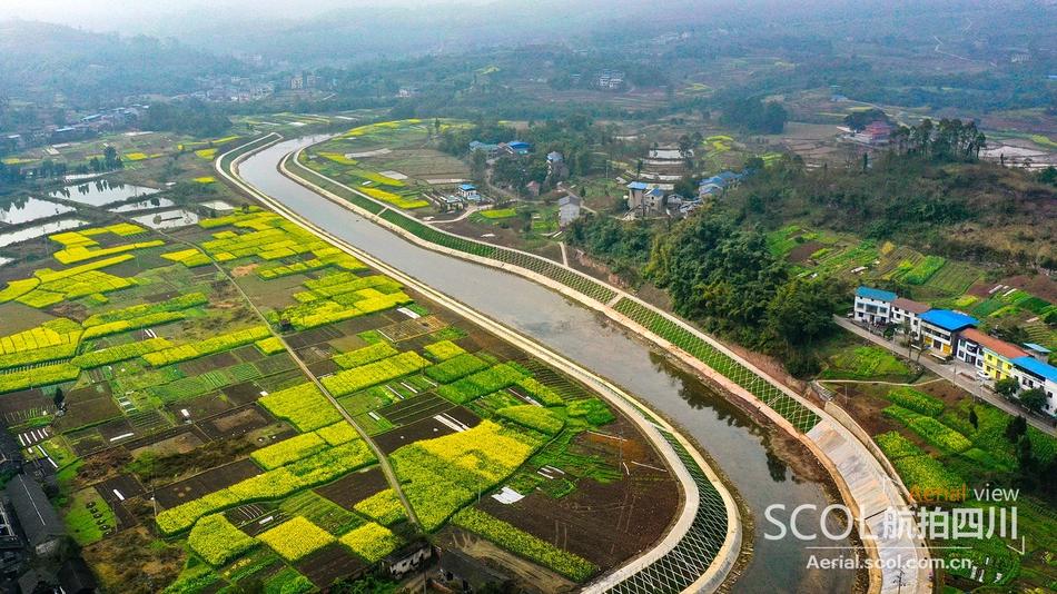 航拍:四川华蓥河道整治 让滩涂变农田