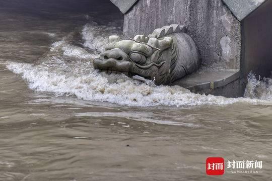 暴雨后 成都锦江大桥显现龙头漱口景观