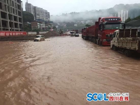 端午期间通江普降暴雨 部分路段危险