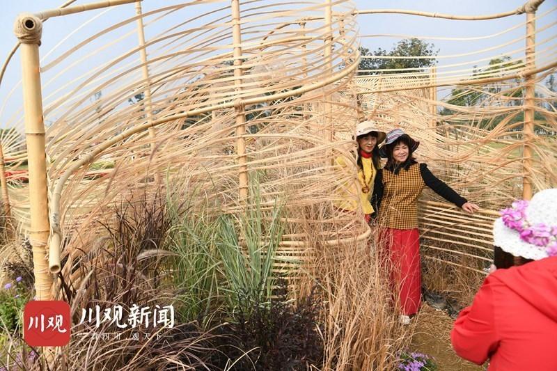 成都市民打卡公园城市竹编景观花园