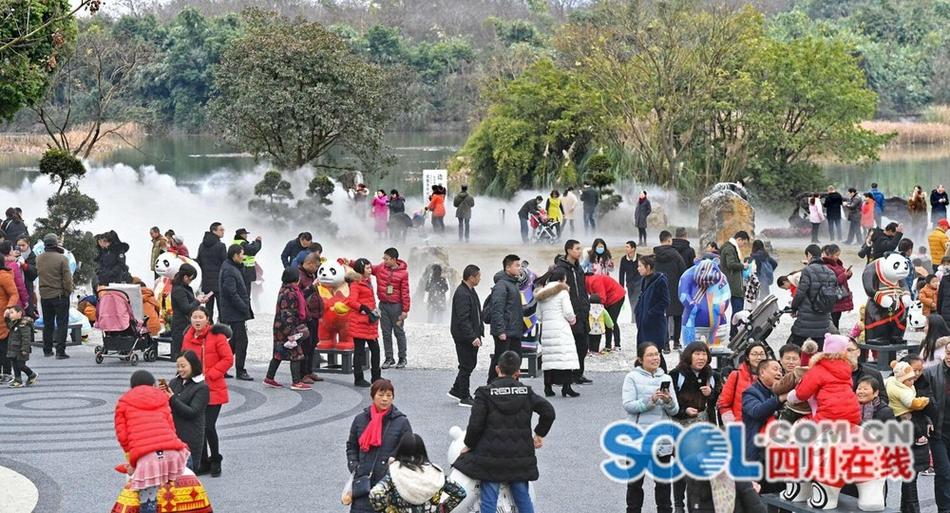 元旦假期 数万游客到成都北湖生态公园领略美妙仙境