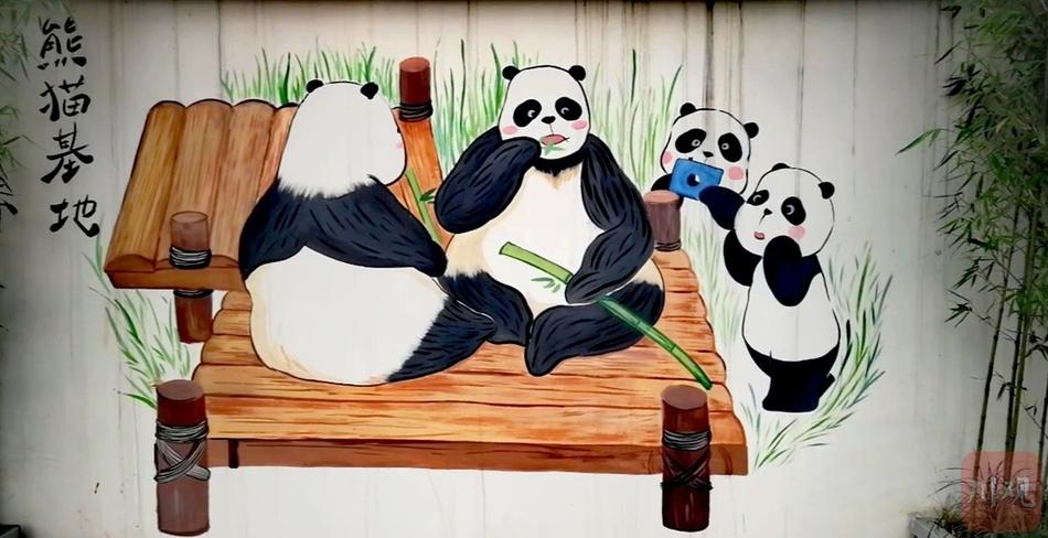"""成都:""""大熊猫""""彩绘爬上墙 无名小街变身网红地"""