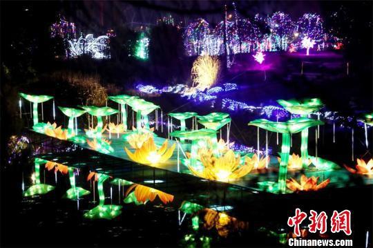 四川广安举行新春灯展