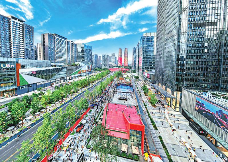 交子金融大街形象提升工程即将全面竣工