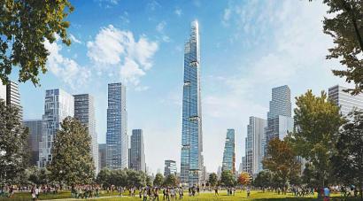 天府新区超高层项目意向方案确定。图为效果图。