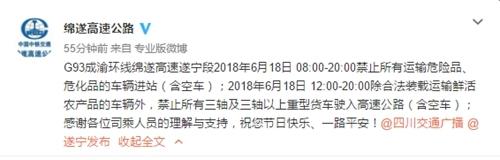 6月18日08:00-20:00 载危险物品车辆禁上绵遂高速