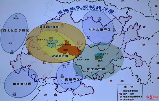 成渝地区双城经济圈示意图
