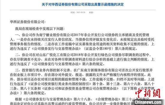 相关处理决定截图。图据四川证监局官网