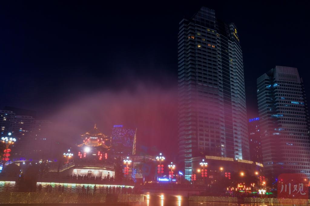 锦江亮灯 合江亭再现公园城市璀璨夜景