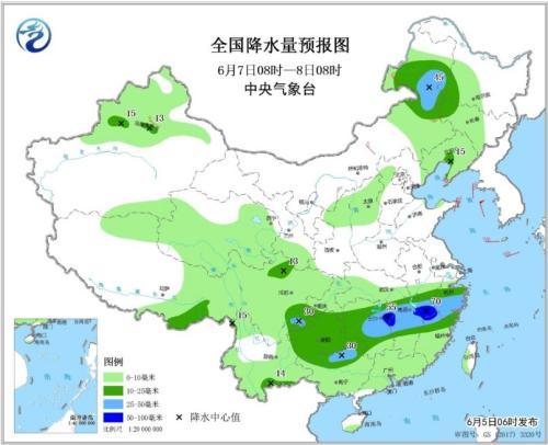 图4 全国降水量预报图(6月7日08时-8日08时)