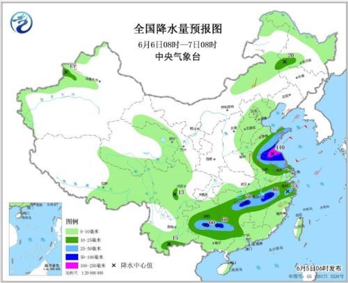 图3 全国降水量预报图(6月6日08时-7日08时)
