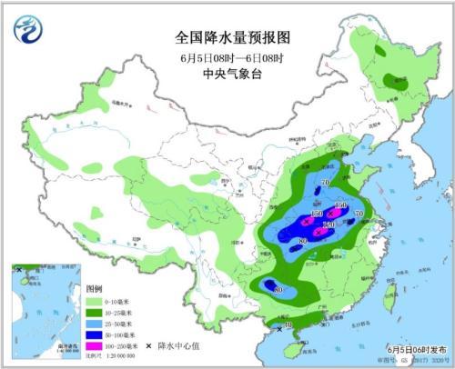 图2 全国降水量预报图(6月5日08时-6日08时)