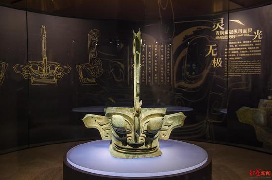 ↑9月6日,四川广汉,三星堆博物馆展品